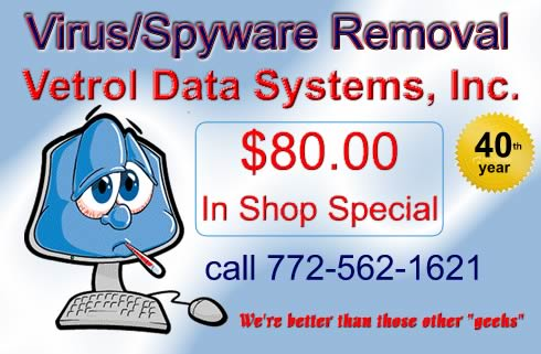 Virus cleaning for a flat fee of $80.